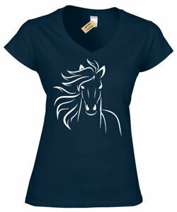 Womens-Horse-Outline-Ladies-v-neck-Tee-Animal-Country-Cowgirl-Equestrian-Graphic