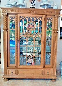 Details about GOTHIC 1800s COMPLETE DINING ROOM OUTSTANDING SET IN RARE  GOLDEN OAK WOOD