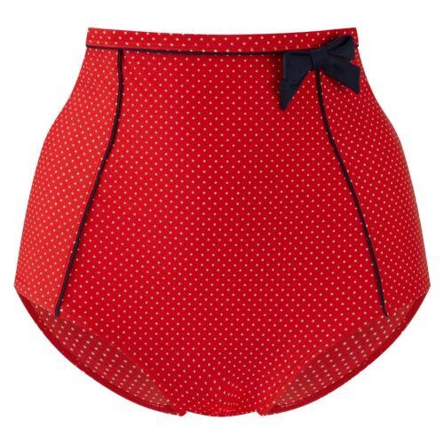 Panache Swimwear Britt VITA ALTA PANTALONE Rosso-Blu Scuro-Spot