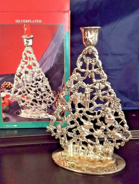 10 silver plated christmas tree candle holder for taper woriginal box decor - Silver Plated Christmas Tree Decorations