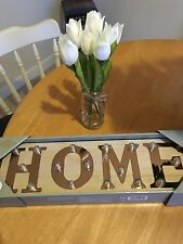 Wooden Home LED Light Up Box Wall Lantern Lamp Plaque Sign Chic Shabby