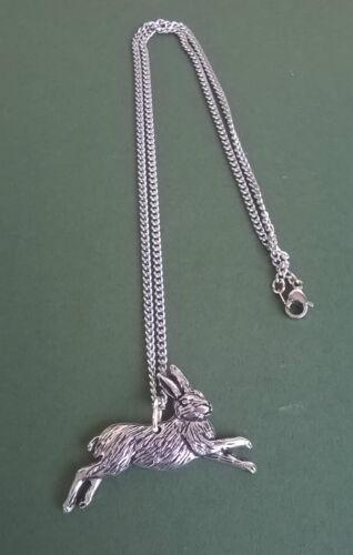 hecho a mano en Cornwall Con Cadena De Acero Quirúrgico liebre Diseño Colgante de Estaño