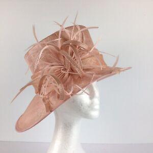 Ladies Debut Hat Pale Peachy Pink  (125) Weddings Special Occasion