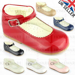 46512a22b23 Details about GIRLS BABYS SPANISH STYLE MARY JANE SHOES PATENT RED NAVY  PINK CAMEL WHITE NEW