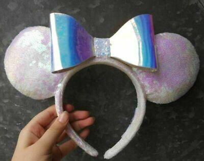 Disney DLR Disneyland White Sequin Iridescent Minnie Ear Headband UWOT