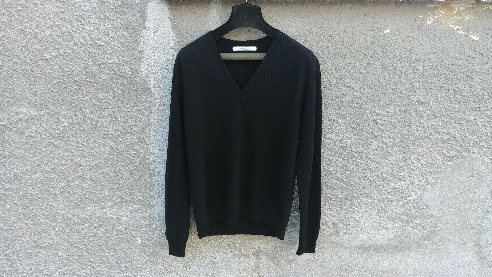 Givenchy Destroyed Distressed Wool Slim Fit Rottweiler Knit Sweater Größe L (M)