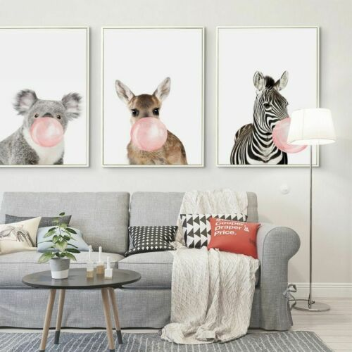 Posters Canvas Print  Painting Wall Bubble Chewing Gum Giraffe Zebra Animal