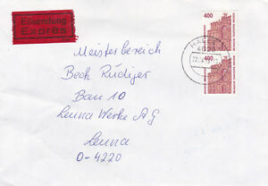 Express-Brief aus 4020 Halle nach Leuna aus 1993 mit Ankunftsstempel rückseitig - Leipzig, Deutschland - Express-Brief aus 4020 Halle nach Leuna aus 1993 mit Ankunftsstempel rückseitig - Leipzig, Deutschland