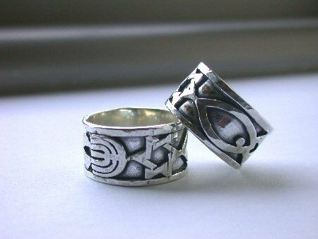 2 Sterling Silver Messianic Rings Star of David Menorah