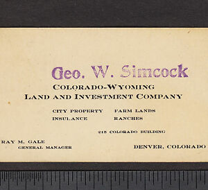 Details about Denver Colorado-Wyoming Land Investment Ranch Farm Simcock  Insurance Co Ray Gale