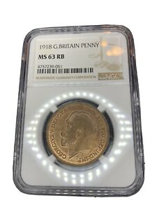 1918-Great-Britain-1-Penny-NGC-MS-63-RB-Red-Brown-KM-810