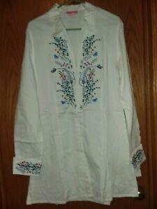 New-She-039-s-Cool-Womens-Size-L-Top-Blouse-Bell-Sleeve-White-Boho-Festival-Crochet