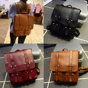 5a9dc07df0d Image is loading Women-Men-Leather-Travel-Rucksack-Shoulder-Laptop-Bags-