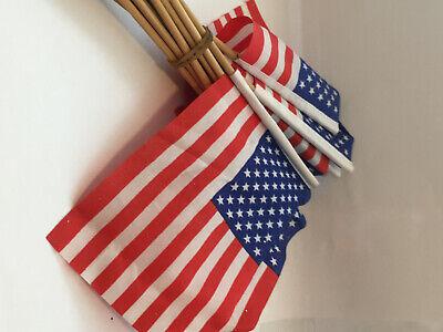 "Parades Lawns 24pc Handheld USA American Patriotic Stick Flags 4/"" x6/"" Parties"