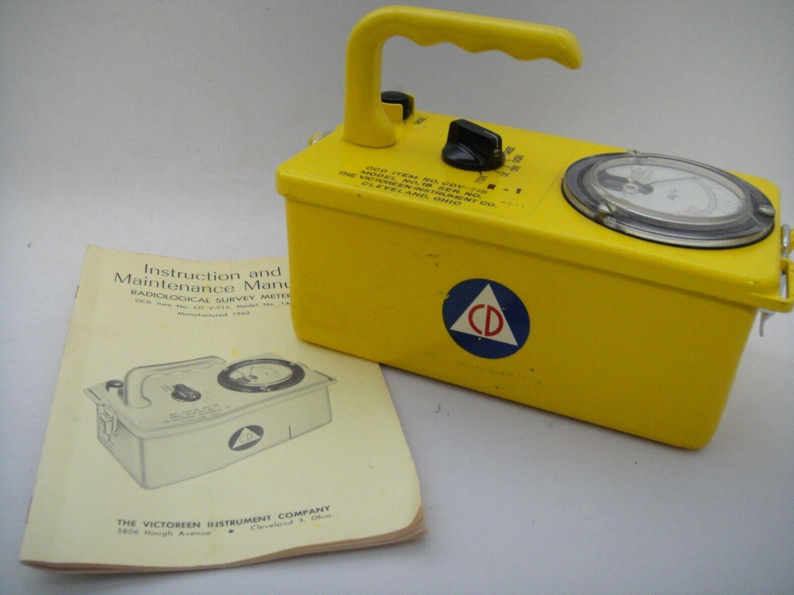 s l1600 - Victoreen Civil Defense Radiological Meter/Geiger Counter CDV715 1b+Manual