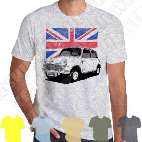 Personalised plate option Classic Austin Mini Cooper mens 100/% cotton T-shirt