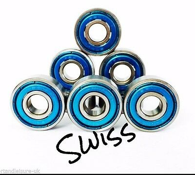 8 Pack 608 [8x22x7] BLUE SWISS PREMIUM QUALITY ABEC BEARINGS Skateboard Scooter