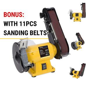 **150mm Bench Grinder Linisher Sanding Grinding Wheel Belt Sander with 11 Belts