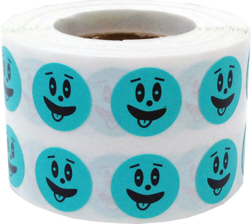 1//2 Inch Round 1000 Labels on a Roll Teal Silly Goofy Face Circle Stickers