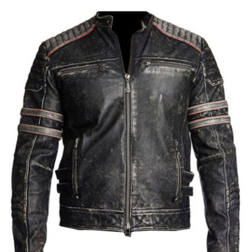 Da Uomo Biker moto vintage effetto anticato Nero Cafe Racer Leather Jacket