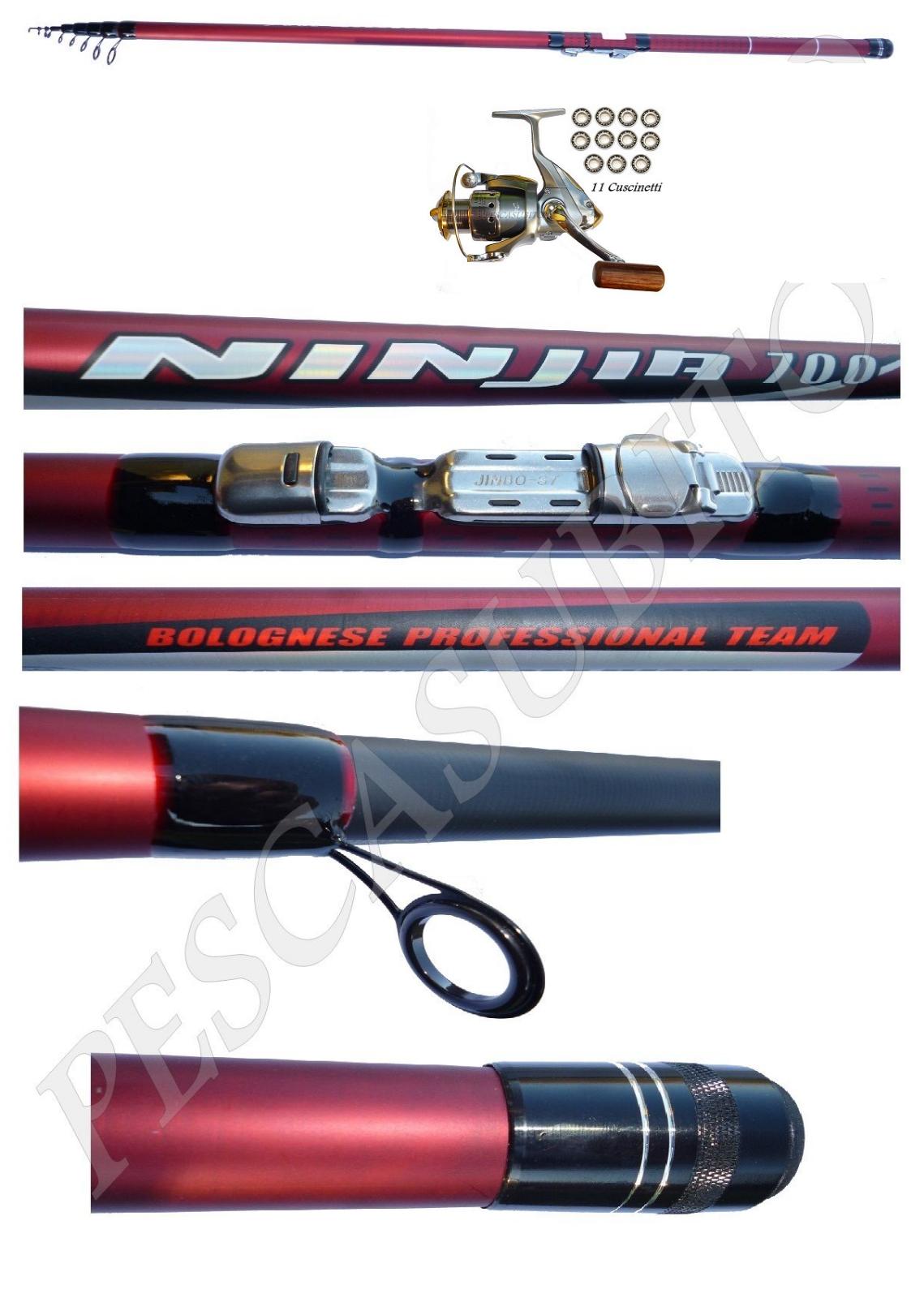 Kit Canna Ninjia Bolognese 6m + Mulinello Xc Pesca Mare Fiume Passata EH