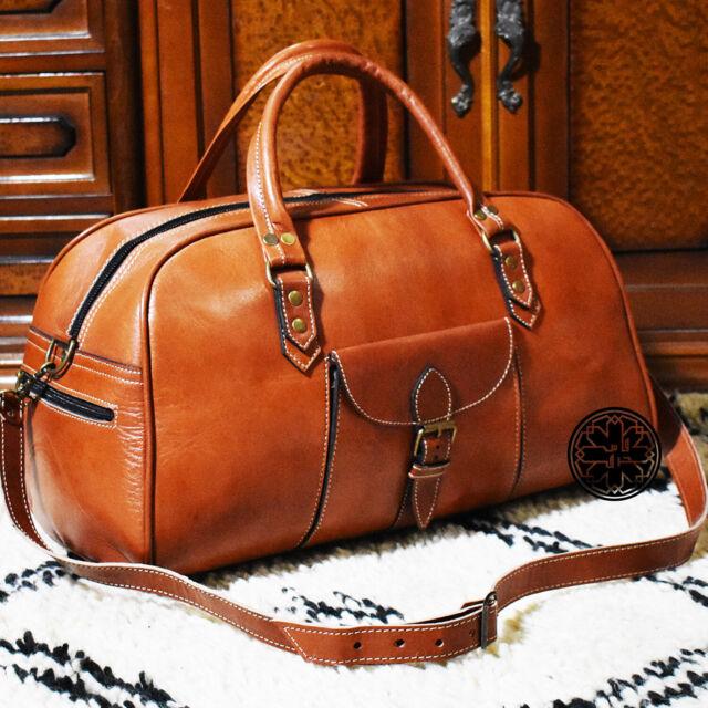 0b309325c79b Light Brown Genuine Calfskin Leather Classic Weekend Duffel Travel  Overnight Bag