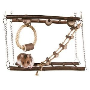 Pet Hamster Mice Mouse Natural Wood Hanging Playground with Ladder & Sisal Toy