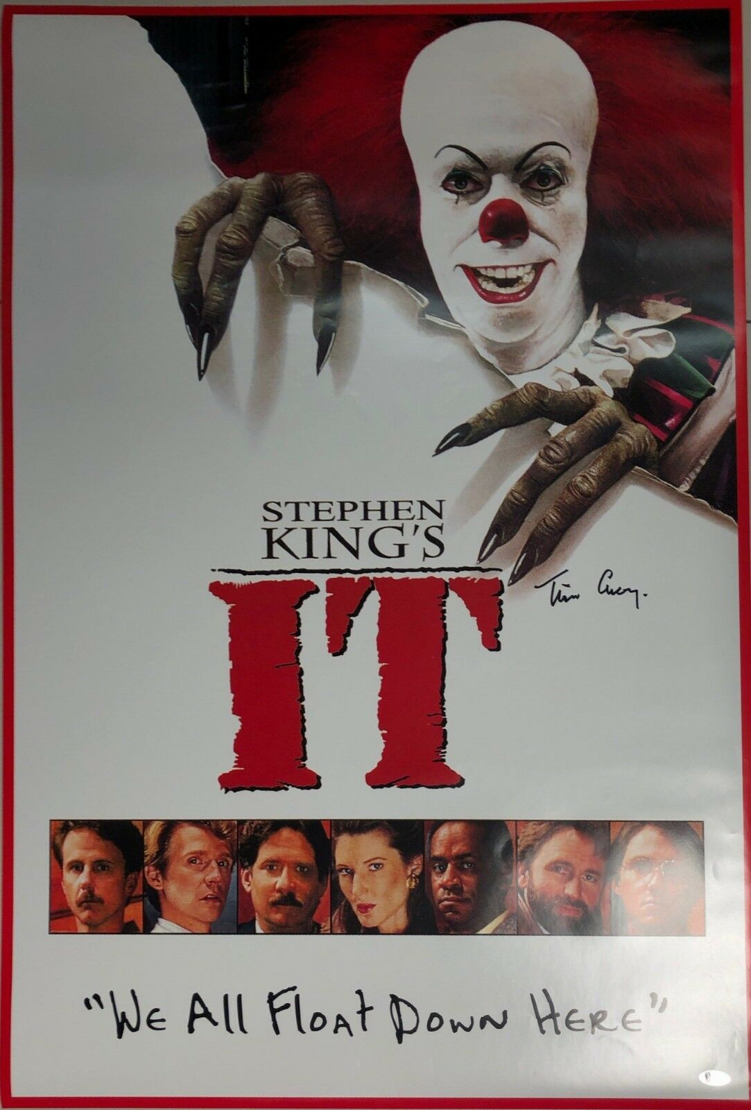 Tim Curry Signed 24x36 Stephen King's 'IT' Movie Poster *Pennywise BAS E07069