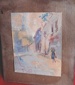 """AgréAble Montmartre AtmosphÈre La Bute Montmartre Paris 1921 Aquarelle Signe """"stanlay"""" Bon GoûT"""