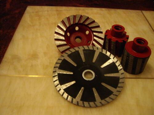 "2/"" Zero Tolerance Drum Wheel Sink Turbo Coarse Cup 5 Inch Convex Blade Concrete"
