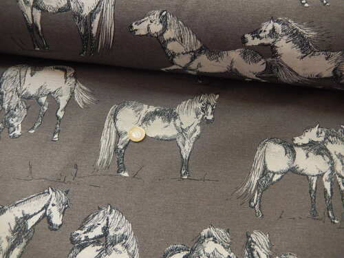 Cotton Blend fabric Horses on  grey  firm weight Panama soft furn half metre