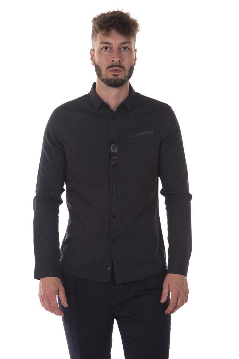 Camicia Armani Jeans AJ Shirt SLIM FIT Cotone Uomo Nero 6X6C406NCAZ MWF 2205