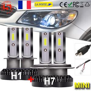 Combo-H1-H7-220W-LED-Ampoule-Voiture-Feux-Lampe-Kit-Mini-COB-Phare-Xenon-6000K