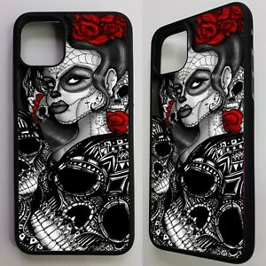 Sugar-skull-girl-dia-de-los-muertos-rose-tattoo-art-case-cover-for-iphone-11
