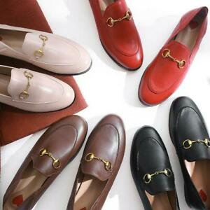 Womens-Real-Leather-Loafers-Casual-Shoes-metal-Decor-Shoes-Slip-On-Driving-OL-SZ