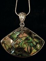 Royal Bali Fan Shape Abalone/mop Silver Pendant With Silver 20 Inch Snake Chain