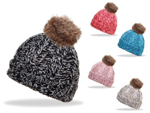 Kunstfell-Bommel-Mütze Mütze Strick-Mütze Winter-Mütze Beanie Ballon-Mütze