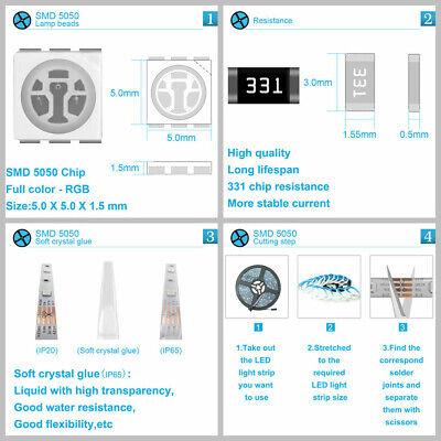 12V 5050 2835 LED Strip Light RGB SMD Music Sync LED Sound Sensor 20Key Control