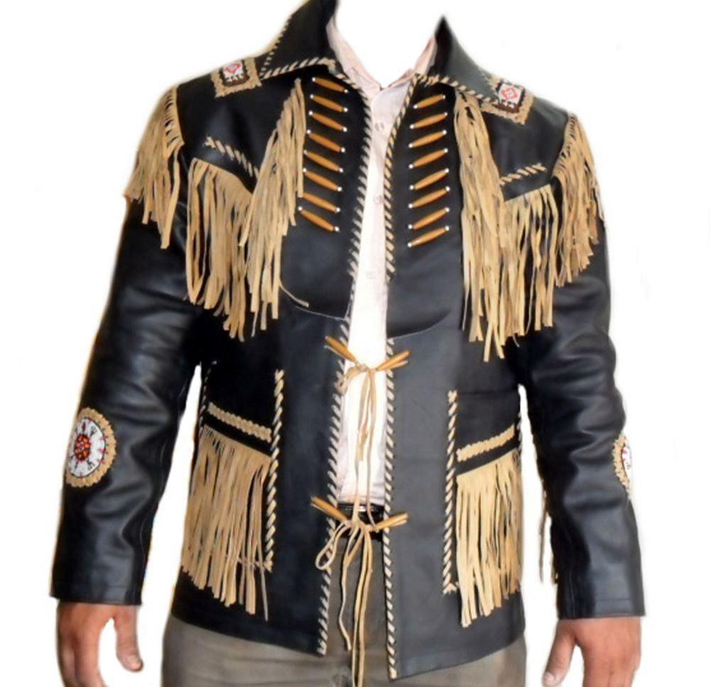 Neu Herren West Wildleder Tragen Cowboy Schwarz Native American-1980's Style