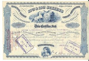 13TH & 15TH Rues Passager Railway Company Of Philadelphia 1934 Certificat mq42DlBD-08023146-447217661
