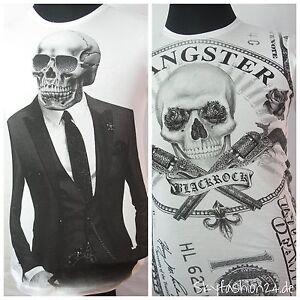 SûR Blackrock T-shirt Hommes Skull Gentleman Roses Blanc élégant Slim Fit Biker Gang-afficher Le Titre D'origine En Quantité LimitéE