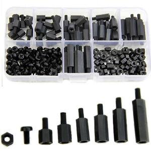 180x-M3-Nylon-Black-M-F-Hex-Spacers-Screw-Nut-Assortment-Kit-Stand-off-Set-HOT