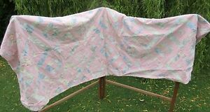 retro hand made pastel pink patchwork bedspread bed throw cover 1980s 96x80in