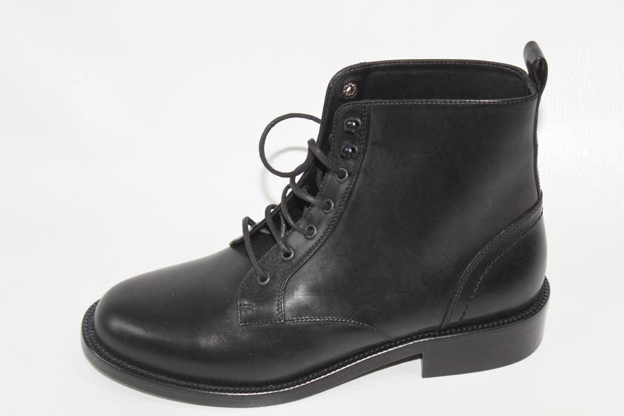 AUTH YSL Saint Laurent Black Leather Boot 34.5