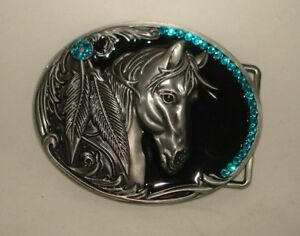 NEW HORSE SILVER HORSESHOE RODEO FEATHER WESTERN BELT BUCKLE