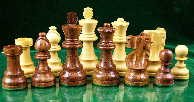 WEIGHTED SHEESHAM WOOD CHESS SET - STAUNTON DESIGN -  3 3 4  KING