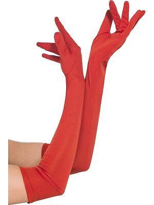 Guanti Rossi Cotone Elasticizzato cm 45 Donna Carnevale Halloween Charleston