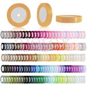 25-Yards-Satin-Ribbon-1-4-034-Craft-Wedding-Party-Decor-DIY-Wholesale