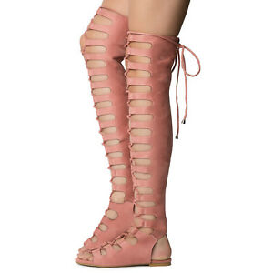 3ec5abbfad41 Cape Dusty Rose Open Lace Up Front Thigh High Gladiator Sandals