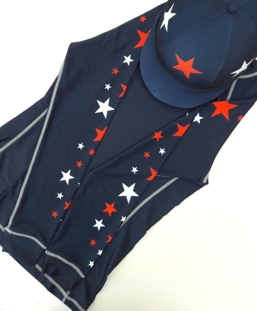 CROSS Country Xc CONCORSO completo Coloreeei con cappello seta e a stella (Blu scuro Rosso Bianco)